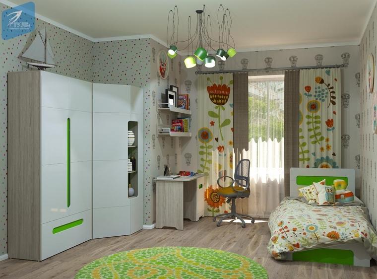 Купить Детская Палермо-Юниор с зелеными вставками купить в интернет-магазине Мир59Мебели.ру по низким ценам