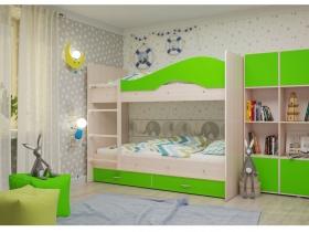 Двухъярусная кровать Мая с ящиками дуб зеленый