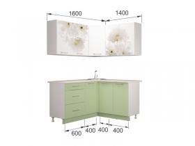Гарнитур угловой Флоренс белый-зеленый