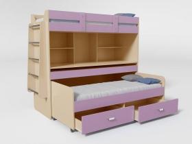 Кровать 2-х ярусная № 2 с ящиком лиловый