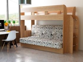 Кровать 2-х ярусная с диваном Дива