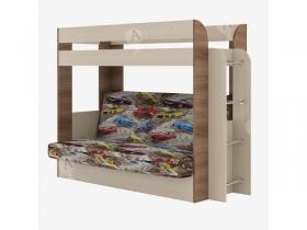 Кровать 2-х ярусная с диваном Карамель 75 Ясень Шимо-Машинка