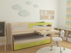 Кровать 2-х ярусная выкатная № 11 лайм