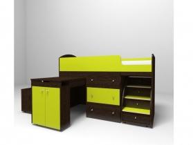 Кровать-чердак Малыш лайм-венге