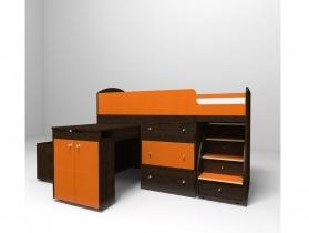 Кровать-чердак Малыш оранж-венге