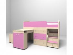 Кровать-чердак Малыш розовый-дуб