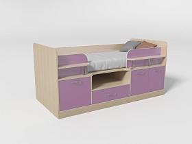Кровать-чердак Уголок школьника № 7 лиловый