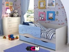 Кровать детская Алиса Голубой металлик