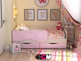 Кровать детская Алиса Розовый металлик