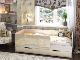 Кровать детская Алиса Ваниль глянец