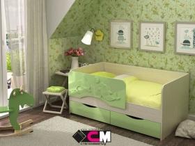 Кровать детская Алиса Зеленый металлик