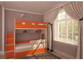 Кровать двухъярусная Юниор 1 дуб-оранж