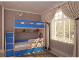 Кровать двухъярусная Юниор 1 дуб-синий