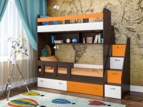 Кровать двухъярусная Юниор 1 оранж-белый-бодего темный