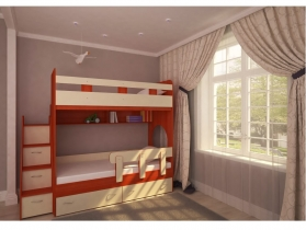 Кровать двухъярусная Юниор 1 вишня-дуб