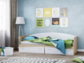 Кровать КР-1 с ящиками Дуб Сонома-Белый