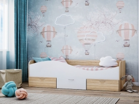 Кровать КР-3 с ящиками Дуб Сонома-Белый