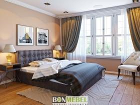 Кровать Лагуна 1600 с ПМ кожзам коричневый