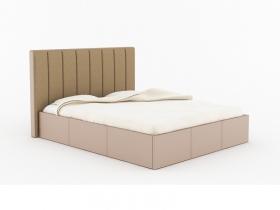 Кровать Прага с ПМ кожзам бежевый-ткань бежевая