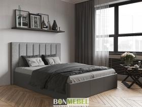 Кровать Прага с ПМ кожзам серый-ткань серая