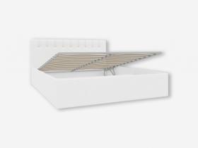 Кровать с ПМ 1600 с мягкой обивкой Скания ИП 001.07-01 кожзам белый