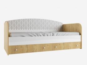 Кровать с ящиками Сканди ДКД2000.1 дуб бунратти-белый глянец