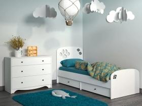 Кровать Томас 11.26 Белый-Ясень ваниль