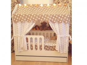 Кроватка Домик розовая с ящиками