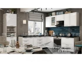 Кухня модульная угловая Монро МДФ Белый глянец