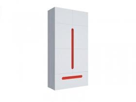 Шкаф 2х створчатый с ящиком Палермо-Юниор с красными вставками