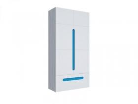 Шкаф 2х створчатый с ящиком Палермо-Юниор с синими вставками