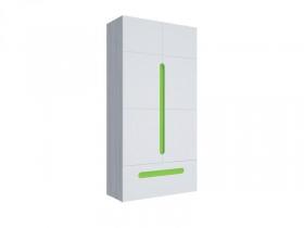 Шкаф 2х створчатый с ящиком Палермо-Юниор с зелеными вставками