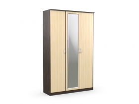 Шкаф 3-х створчатый с зеркалом Дуэт Люкс Венге-Дуб Млечный