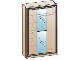 Шкаф 3х дверный с зеркалом ШК-1702 Эйми МДФ Бодега белая-патина Серебро