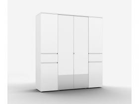 Шкаф 4-х дверный с 2 зеркалами Alberta ШО-04 Белый Альпийский