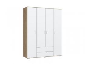 Шкаф 4-х створчатый с ящиками Лайт ШР-4 Дуб Сонома-Белый