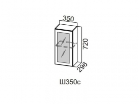 Шкаф навесной со стеклом 350 Ш350с 720х350х296мм Модерн