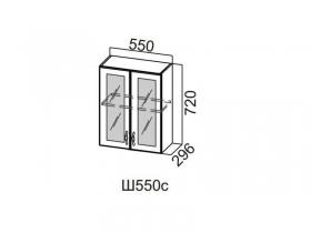 Шкаф навесной со стеклом 550 Ш550с 720х550х296мм Модерн