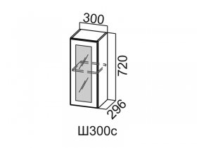 Шкаф навесной со стеклом Ш300с Вектор СВ 300х720х296