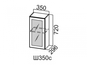 Шкаф навесной со стеклом Ш350с Вектор СВ 350х720х296