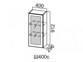 Шкаф навесной со стеклом Ш400с Вектор СВ 400х912х296