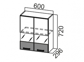 Шкаф навесной со стеклом Ш600с Арабика СВ 600х720х296