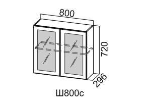 Шкаф навесной со стеклом Ш800с Вектор СВ 800х720х296