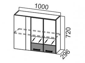 Шкаф навесной угловой со стеклом Ш1000ус Арабика СВ 1000х720х296