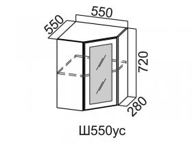 Шкаф навесной угловой со стеклом Ш550ус Вектор СВ 550х720х550