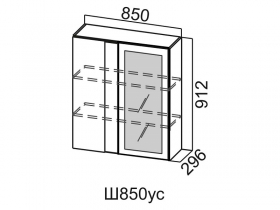 Шкаф навесной угловой со стеклом Ш850ус Вектор СВ 850х912х296