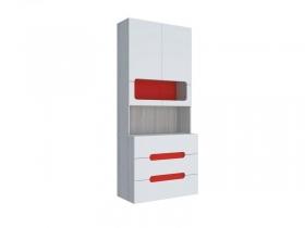 Стеллаж с ящиками МДФ Палермо-Юниор с красными вставками