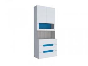 Стеллаж с ящиками МДФ Палермо-Юниор с синими вставками