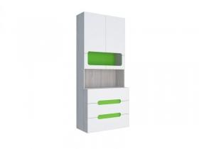 Стеллаж с ящиками МДФ Палермо-Юниор с зелеными вставками
