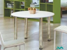 Стол обеденный круглый 900 МДФ Марибель белый металлик